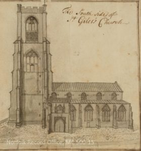 Drawing in the Archives: early eighteenth-century drawing by John Kirkpatrick of the church of St Giles in Norwich