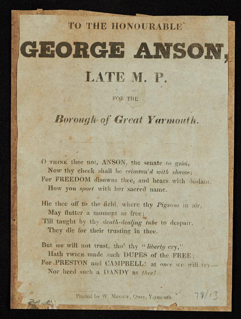 Great Yarmouth political squibs: squib regarding George Anson, former MP for Great Yarmouth, circa 1830