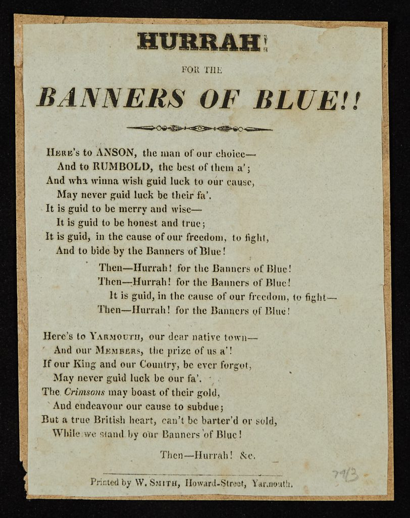 Great Yarmouth political squibs: song lyrics emphasizing Tory support for William IV